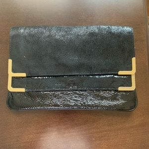 Michael Kors Black Leather Large Clutch